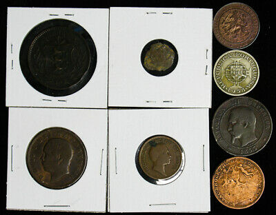 Lot of 8 Old World Foreign Coins Baden Guernesey Timor Canada France Netherlands
