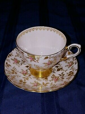 Tuscan  Tea Cup and Saucer - Du Barry Rose pattern - Art Deco