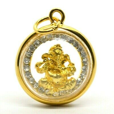 Silver Coin 2006 Lord Ganesha Hindu Success in Gold Case Thai Amulet Pendant G3