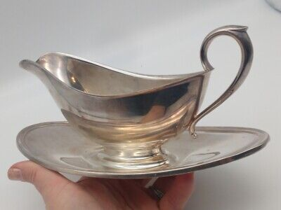 Vintage Gotham Silver Plated Gravy Boat Colonial