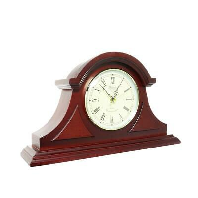 Mantel Desk Clock Roman Numerals Quartz Pendulum Chimes Fireplace Decor Redwood