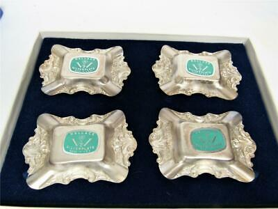 Silver Plate Set Ash Tray With Lighter Stand Greek Theme Vintage Antique Gift
