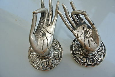 2 used TINY Buddha Pull handle SILVER brass door old style HAND knob hook B