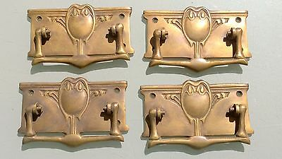 "4 heavy DECO handles door brass furniture antiques vintage age old style 4"" B"