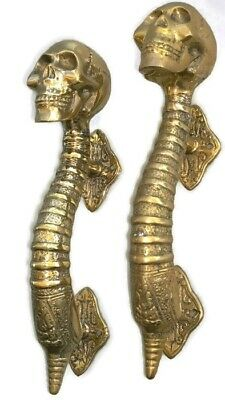 "2 small SKULL head handle DOOR PULL spine natural AGED BRASS old style 8"" B"