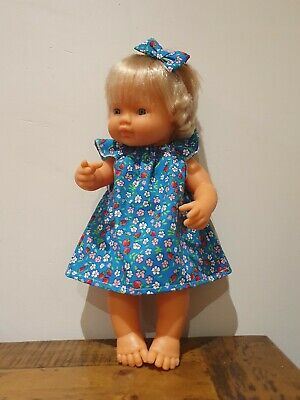 """Miniland 38cm baby alive 13"""" Doll Clothes floral strawberry  dress handmade"""