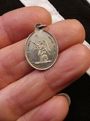 Antique 1900 Sterling 800 Silver Guardian Angel Medal