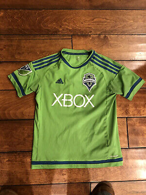 MLS Seattle Sounders Soccer Team Adidas Jersey Youth Size Large 13-14 Years