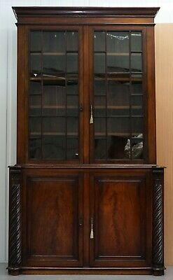 Very Rare 19Th Century Victorian Ornately Carved Mahogany Library Study Bookcase