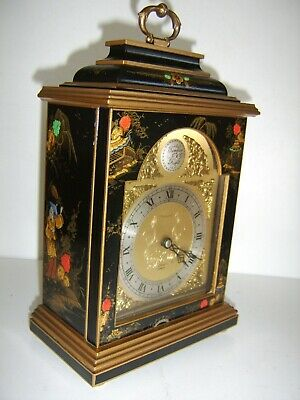 LARGE SIZE ELLIOTT Of LONDON Chinoiserie Bracket Mantel Clock Wind Up Japanned