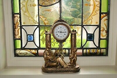 COUNTRY HOUSE SALE Antique French Rococo Style Ornate Gold Mantel Clock,Vintage