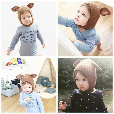 Baby Toddler Winter Beanie Warm Hat Hooded Scarf Boys Girls Woolen Hats Caps MD