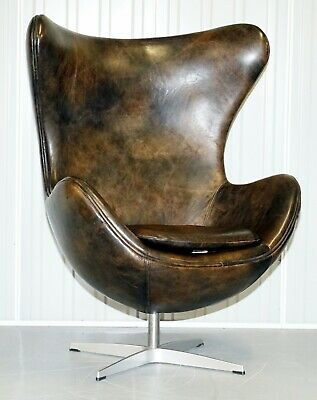 Vintage Heritage Brown Leather Egg Swivel Armchair Stunning Leather Patina