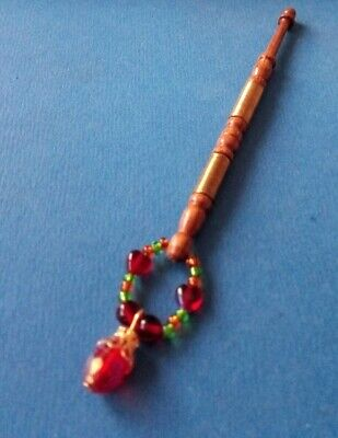 Wood Lace Bobbin. Wired & Turned on Shank. Spangles + Hearts & Drop.