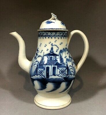 Rare 18th Century Staffordshire Pearlware Pottery Chinese House Coffee Pot