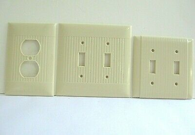 3 Vintage Ivory Bakelite Outlet Switch Cover Ribbed