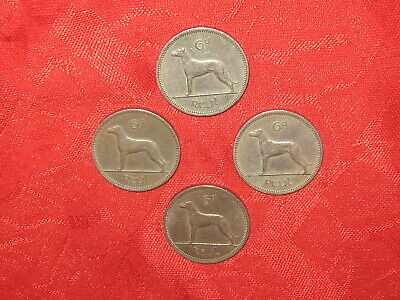 Lot Of 4 Vintage Silver Irish Celtic Ireland Wolfhound Dog 6 Pence Coin Coins