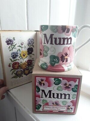 Emma Bridgewater Half Pint Mum Pansy/Floral Mug BNIB Mother's Day Birthday Boxed