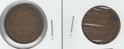 1916 & 1917  King George V 1¢  Large Pennies In Nice Condition