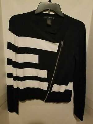 Grace Elements Womens Zip Front Long Sleeve Black & White Cardigan Sweater Small