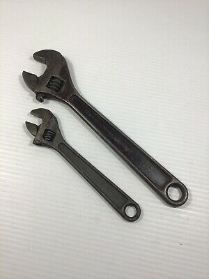 """Lot/2 J.H. WILLIAMS & CO. ~ SUPERJUSTABLE Forged Alloy WRENCH 8"""" 10"""" USA #EE"""