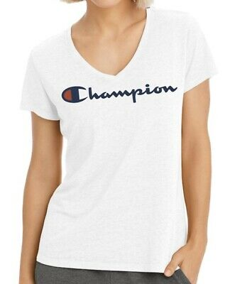 Champion Logo V Neck T Shirt Womens Size Medium White NWT