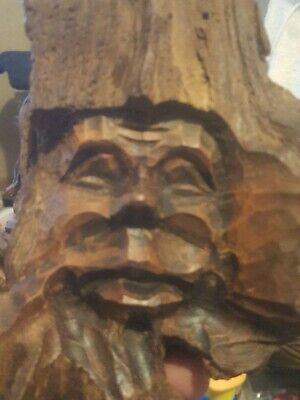 Drift Wood Tree Carved Figurine Sculpture Wooden Wizard Gnome Old Man Face Tree