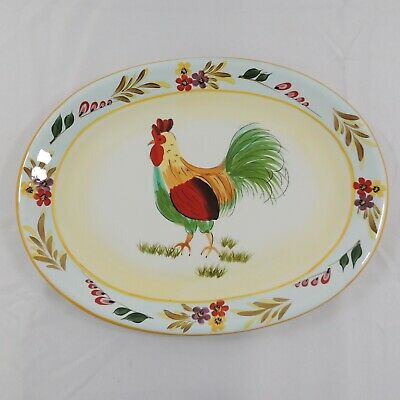 222 Fifth Center ROOSTER by PTS Blue Trim & Floral Oval Serving Platter 16 x 12""