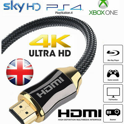 Braided HDMI Cable High Speed v2.0 Ultra HD 4K 3D ARC For PS3 PS4 XBOX HDTV UK