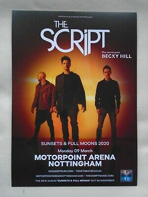 """THE SCRIPT Live in Concert """"Sunsets & Full Moons"""" 2020 UK tour Promo tour flyer"""