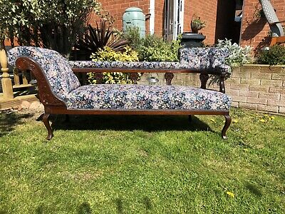 Antique chaise lounge, recovered by professional upholsterers