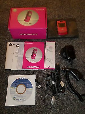 MOTOROLA RAZR V3 PINK WITH BOX & CHARGERS,LEADS,MANUALS,USED UNLOCKED Film Prop