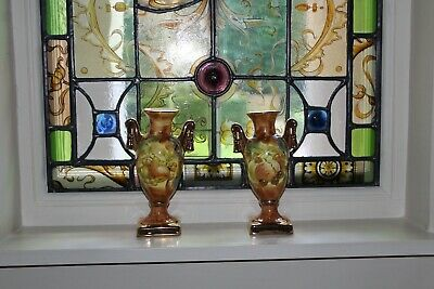 COUNTRY HOUSE SALE Vintage Victorian Style Pair Small Gold Urns,Vases,Pots,Fruit