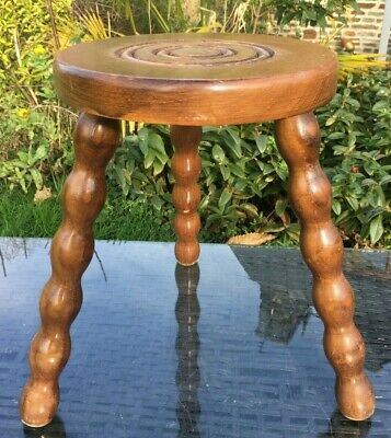 OAK Stool 3 BOBBIN Legs BULLS EYE BRETAGNE STYLE Vintage French Charming