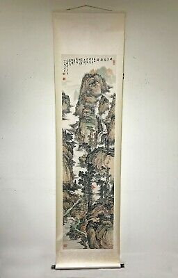 Fine Large Old Chinese Scroll Painting of Landscape with Waterfall