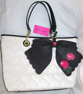 BETSEY JOHNSON Cream Black Quilted Flower Bow Tote Bag w Pouch inside NEW