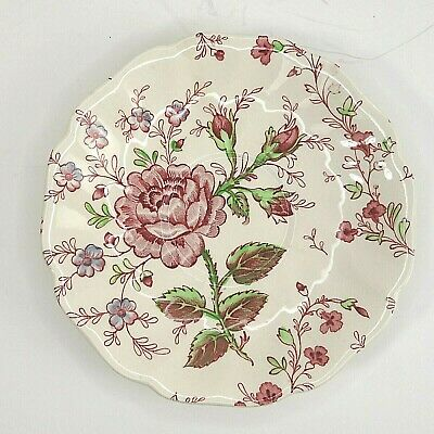 Vintage Johnson Bros ROSE CHINTZ Tea Cup Saucer Made in England Pink Blue Floral