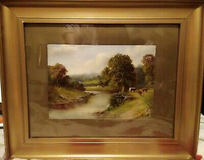 Antique Early 20th Century Oil on Card Signed J. H. Lewis. Cattle By a River