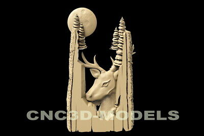 3D Model STL for CNC Router Engraver Carving Artcam Aspire Deer Hart Buck f604