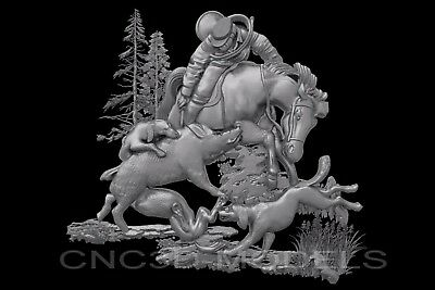 3D Model STL for CNC Router Carving Artcam Aspire Hunt Hunting Wild Boar a603
