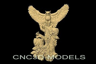 3D Model STL for CNC Router Engraver Carving Artcam Aspire Owl Hunt Hunting n923