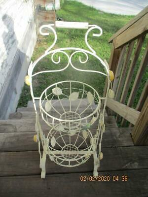 """Wrought Iron Two Tiered Fruit Basket Self Standing Wood Handle 30"""" High"""