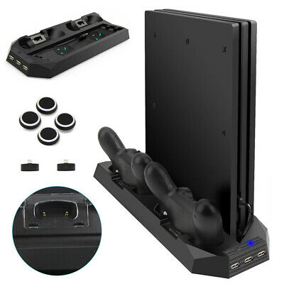 For PS4 Playstation 2 Controller Charger Dock Station Cooling Fan Vertical Stand