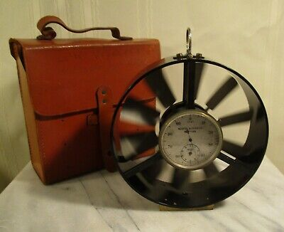 Old KEUFFEL & ESSER Wind Meter with Leather Case - ANEMOMETER