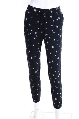 BB Dakota Womens Drawstring Cropped Star Print Sweatpants Navy Blue Size XS