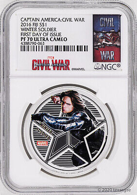 2016 Fiji $1 Marvel's Avengers Winter Soldier 1oz Silver Proof Coin NGC PF70-FDI