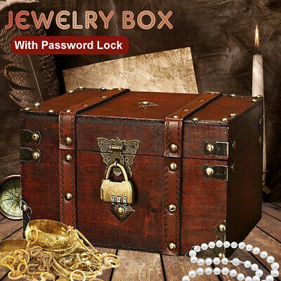 """Wooden Jewelry Box With Password Lock Treasure Chest Storage Case Gifts 9*6"""""""