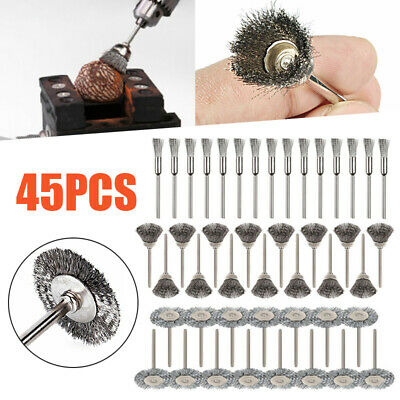45pcs Stainless Steel Wire Cup Mix Brush Set for Sanding Rotary Power Tool Kit