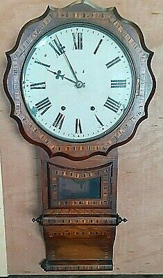 Antique 1860 - 1890 AMERICAN Hand Made Mahogany WALL CLOCK With Inlaid 8-day