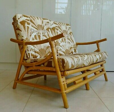Vintage Mid Century Cane/Bamboo 2 Seater Lounge Chair, Retro Palm Print Cushions